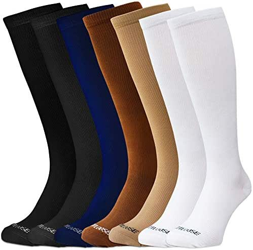 Compression Socks for Men & Women - 7 PACK   Various Degree's of Pressure For Comfort & Compression To Promote Blood Flow Circulation During Travel, Pregnancy, Shin Splints, Exercise, Recovery & More
