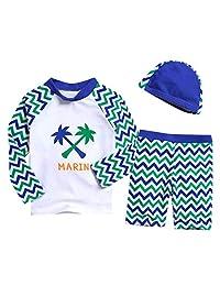 SolwDa Swimsuit for Kids Girl Boy Long Sleeve Print Beach Play Sport Swimwear Cap Bathing Set Clothes Large Size