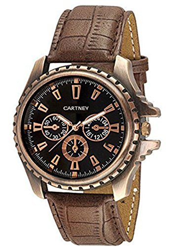 Cartney Copper Analog Black Dial Brown Leather Strap Watch For Men's – CTY-CPR-11