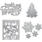 Dies Cuts Christamas Tree Snowflake for Card Making DIY Scrapbooking Photo Album Tree Xmas Words Metal Stencils Decorative Embossing DIY Paper Cards Gift (Set 10) (CDS11)