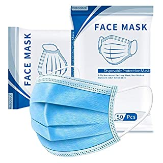 50 Pcs Disposable Face Mask, 3 Layer Design Protection Breathable Face Masks with Elastic Earloops, Anti-Dust Protective Cover Mask Bulk for Adult, Men, Women, Indoor, Outdoor Use