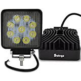 Safego 12V 24V 27W LED Spot Work Light Lamp for Truck Off Road Lights 4X4 ATV Tractor 30 Degree Square 27WS-SP Pack of 2