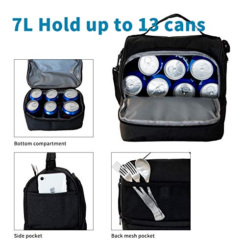 Lunch Bag Insulated Lunch Box, 2 Compartment Leakproof Cooler Tote Bag with Sturdy YKK Zippers for Men,Women,Kids, Thermal Lunch Food Bag for Office Picnic Travel School - Black