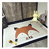 Ustide Baby Play Mat Cotton Floor Gym - Non-Toxic Non-Slip Reversible Washable, Large (Fox)