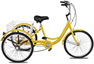 Togarhow Adult Tricycles 3 Wheel Bikes 7 Speed Adult Trikes Three-Wheeled Cruiser Bicycles Large Cruiser Seat