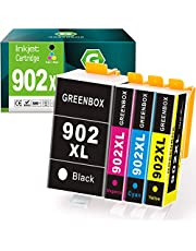$32 » GREENBOX Compatible Ink Cartridges Replacement for HP 902XL 902 XL for Hp OfficeJet Pro 6978 6968 6958 6962 6960 6970 6979 6950 6951 6954 6975 Printer (1 Black 1 Cyan 1 Magenta 1 Yellow)