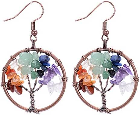 Sedmart Tree of life pendant Amethyst Rose Crystal Earrings Gemstone Chakra Jewelry Mothers Day Gifts