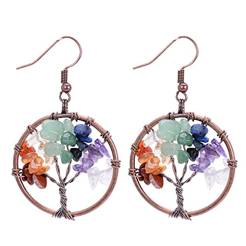 Tree of Life Pendant Vintage Retro Dangle Earrings Chakra Gemstone Jewelry Mothers Day Gift