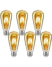 Edison vintage glödlampa, E27 4W Edison LED-lampa varmvit retro glödlampa vintage antik glödlampa idealisk för nostalgi och retrobelysning hemma kafé bar osv – 6 stycken [energiklass A++]