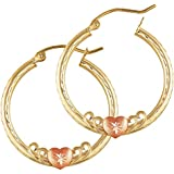 Balluccitoosi 14k Gold Two Tone Hoop Heart Earrings -Yellow and Rose Earring for Women and Girls - Unique Jewelry for Everyday