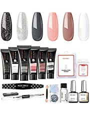 Modelones Poly Nail Gel Kit Enhancement Nude Gray Glitter Nail Extension Gel Kit with Slip Solution Trial Professional Technician All-in-One French Kit