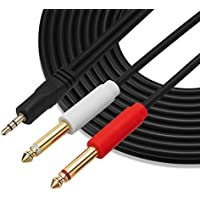 GHWL Gold Plated 3.5 mm TRS to Dual 1/4 inch TS Premium Stereo Breakout Cable