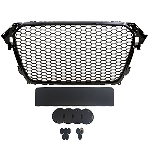 AUDI A4/S4 B8.5 RS4 STYLE MAIN UPPER EURO MESH GRILLE - GLOSS BLACK 2013 2014 2015 2016 ()