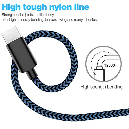 USB Type C Cable,WUXIAN 5Pack (3/3/6/6/10 ft) Nylon Braided with USB Long Cable for Samsung Galaxy S9,Note 8,S8 Plus,LG V30 V20 G6 G5,Google Pixel,Nexus 6P 5X(Black&Blue) by WUXIAN (Image #1)