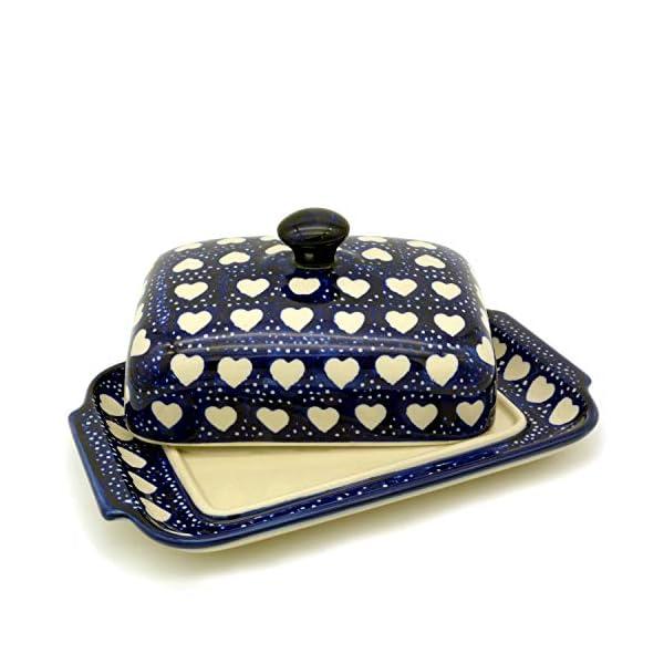 Bunzlauer Butter Dish with Button Handle for 250 g Butter Dekor Weisse Herzen
