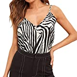 Toponly Sling Camisole for Women Zebra Striped Print Tank Tops V-Neck Sleeveless T Shirt Summer Casual Camis Tops