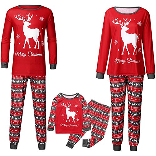 Family Matching Christmas Pajamas Set,Crytech Cute Cartoon Fawn Print Xmas Deer Sleepwear Pj Top+Pants Outfit for Parent Children Women Men Toddler Kids Winter Fall Clothes (3-4 Years, Child)