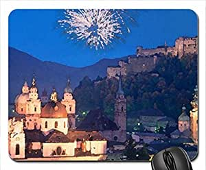 fireworks over salzburg austria Mouse Pad, Mousepad (Watercolor style) by runtopwell