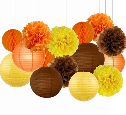 Sogorge Fall Party Decorations Autumn Thanksgiving Decorations, Fall Harvest Decorations Hanging Tissue Paper Pom Poms Mixed Paper Lanterns for Birthday Decor, Baby Shower Fall Party Supplies