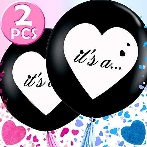 Wmbetter 36 Inch Gender Reveal Balloon, 2 Pcs Jumbo Black Balloons with Pink and Blue Heart Confetti for Reveal party, Gender Reveal Party Supplies]()
