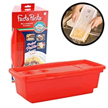 Microwave Pasta Cooker - The Original Fasta Pasta (Red) - No Mess, Sticking or Waiting for Boil