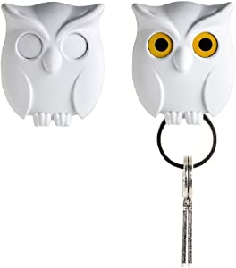 Night Owl Keyring Holder by Qualy Design Studio. White Color. Cool Home Decor. Unusual Wall Decoration. Unique Gift.