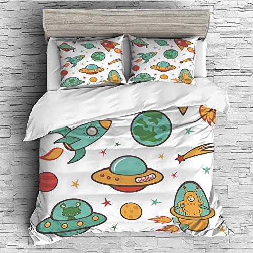 ng Bedding Collections Lightweight, Hypoallergenic(Singe Size) Kids Room,Outer Space Theme Rocket Space Ship UFO Stars Planets Alien Earth Saturn Galaxy Print, ()