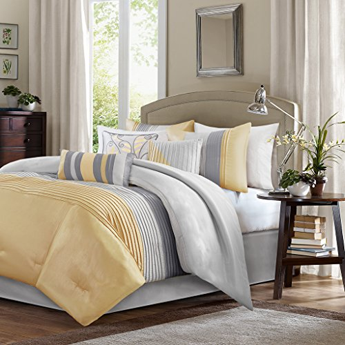 Madison Park Amherst King Size Bed Comforter Set Bed In A Bag - Yellow, Grey, Pieced Stripes – 7 Pieces Bedding Sets – Ultra Soft Microfiber Bedroom Comforters