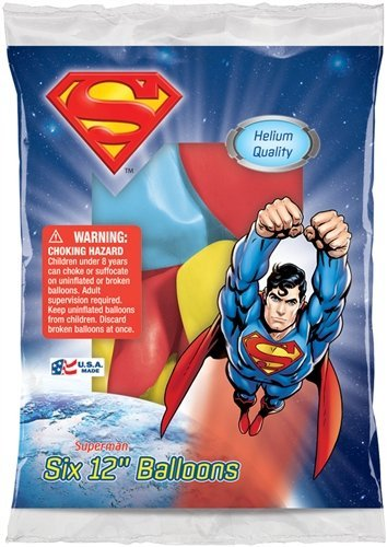 Latex Superman Costume - Pioneer Party Group Officially Licensed DC Comics 12-Inch Latex Balloons, 6-Count, Superman Assorted Colors
