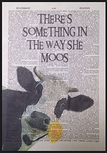 Cow Print Vintage Dictionary Page Wall Art Picture Print Funny Quote Farm Animal homemade