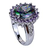 YAZILIND Ladys Silver Plated Flower Shape Crystal Multicolor Women Ring size