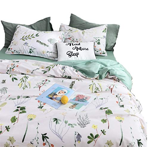 Jane yre Floral Duvet Cover Sets Twin,100% Cotton Yellow/Red Flower Green Botanical Print for Kids Teens 3 Pieces Fresh Garden Style with Zipper Closure NO Comforter from Jane yre
