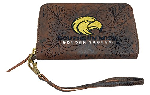 Gameday Boots NCAA Southern Mississippi Golden Eagles Women's Wristlet, 8x5x1/2, Brass by Gameday Boots