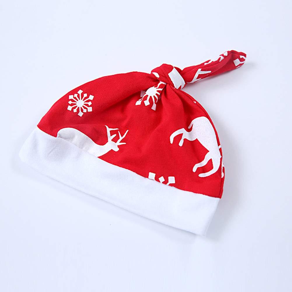 Matching Trousers Hat Suits Fashionwu 3PCS//Set Baby Unisex Christmas Elk Print Long Sleeve Rompers
