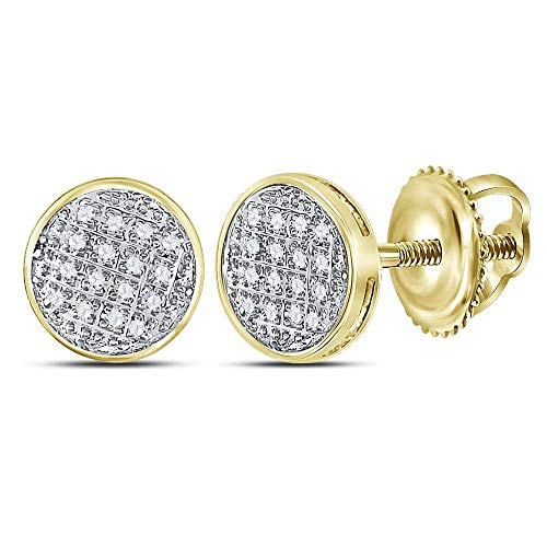 Jewels By Lux 10kt Yellow Gold Mens Round Diamond Circle Cluster Stud Earrings 1/12 Cttw In Pave Setting (I2-I3 clarity; J-K color)