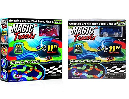 Magic Tracks Mega Set With LED 1 Red & 1 Rlue car, As Seen on TV 11ft Track Set (Set of 2 )