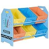 Costzon Kids Toy Organizer with 6 Multi-Color Storage Bins