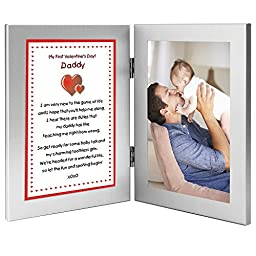 First Valentine\'s Day Gift From Baby to Daddy - Sweet Poem in Double Frame - Add Photo