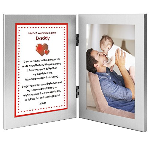 First Valentine's Day Gift From Baby to Daddy - Sweet Poem in Double Frame - Add Photo