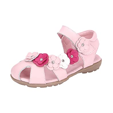 0b81ff5d077ef Girls' Cutout Flower Closed Toe Princess Velcro Strap Flat Sandals Pink Tag  37-3.5