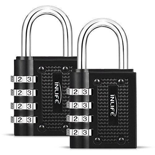 InLife 2 X Candados de Seguridad Combinación de 4 Díditos sin Preocupaciones de llave para Maleta de Viaje Cerraduras de...