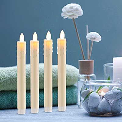 Ry-king Set of 4 Dancing Flame Window Taper Candles, Battery Operated Flickering Electric Flameless Pillar LED Candles