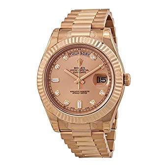 Amazon Com Rolex Day Date Ii Champagne Dial Automatic 18k Rose Gold
