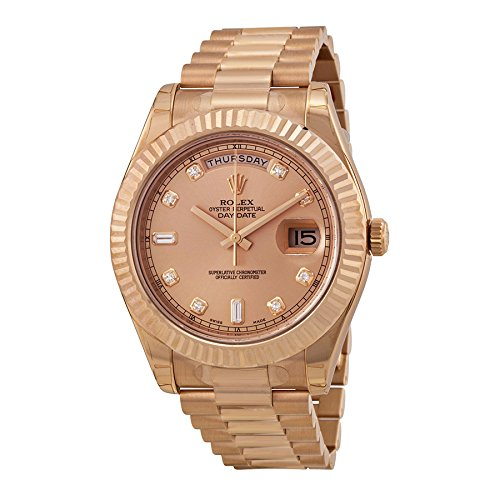 Rolex Day-Date II Champagne Dial Automatic 18K Rose Gold President Mens Watch 218235CDP