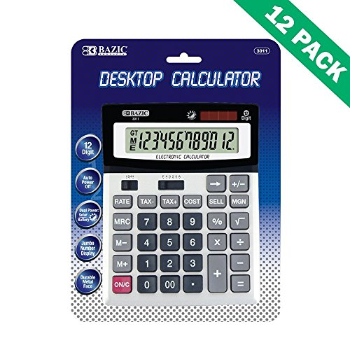 Office Desk Calculator, Desktop 12 Digit Calculator Dual Power - 12pc Case by BAZIC-PRODUCTS