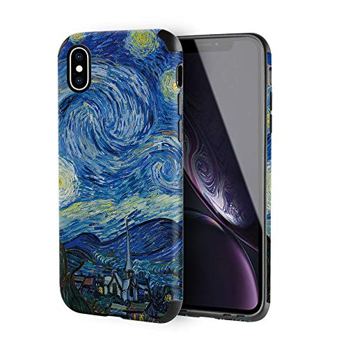 iPhone Xs Max Case, ZVE Apple iPhone Xs Max Slim Case with Print Pattern Shockproof Protective Leather Case Cover for Apple iPhone Xs Max, 6.5 inch - Van Gogh Star