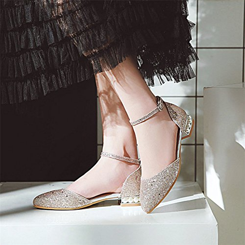 Y2Y Studio Femmes Sandales Talon Plate Bout Rond Bride Cheville Avec Paillettes Éclat Conforts pour Ete Fete Or n0yzld