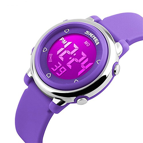 17b244c2ae4 Gosasa Kids LED Digital Electrical Luminescent Silicone Outdoor Sport  Waterproof Alarm Children Dress Wrist Watch with Stopwatch for Boys Girls –  Purple
