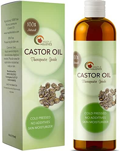100% Pure Cold Pressed Castor Oil for Hair Growth Eyelashes and Eyebrows Natural Skin Care Anti Aging Moisturizer Deep Conditioner and Massage Oil for Joint Pain Gentle Carrier Oil for Essential Oils