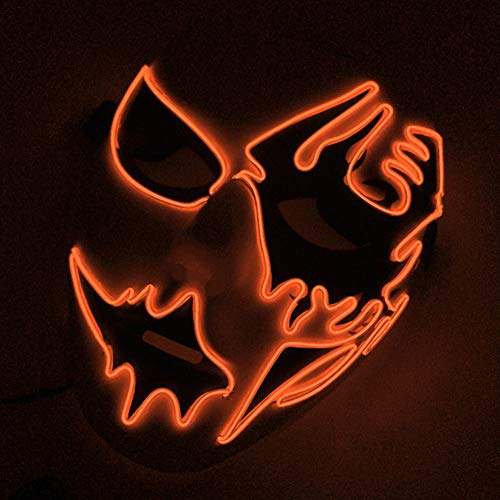 Connoworld Halloween Cosplay Mask Frightening LED EL Wire Light Up Festival Makeup Party Orange]()